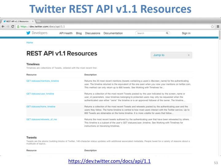 Twitter REST API v1.1 Resources