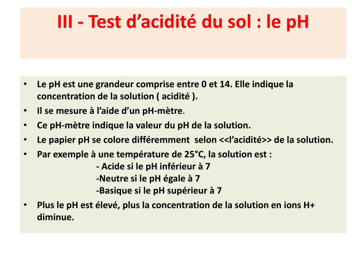 III - Test d'acidité du sol : le pH