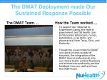 the dmat deployment made our sustained response possible