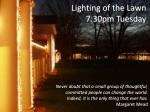 lighting of the lawn 7 30pm tuesday