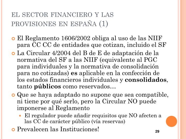 el sector financiero y las provisiones en