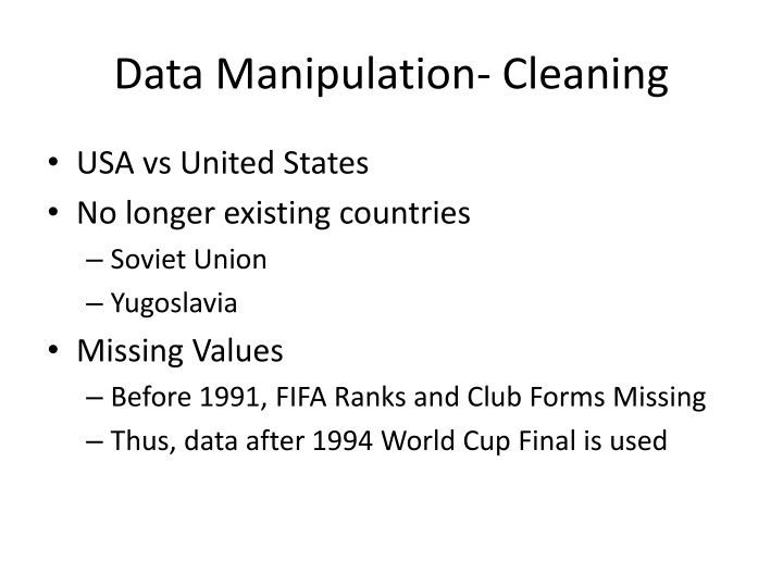 Data Manipulation- Cleaning