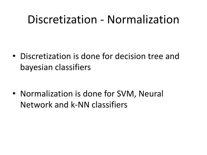 Discretization - Normalization