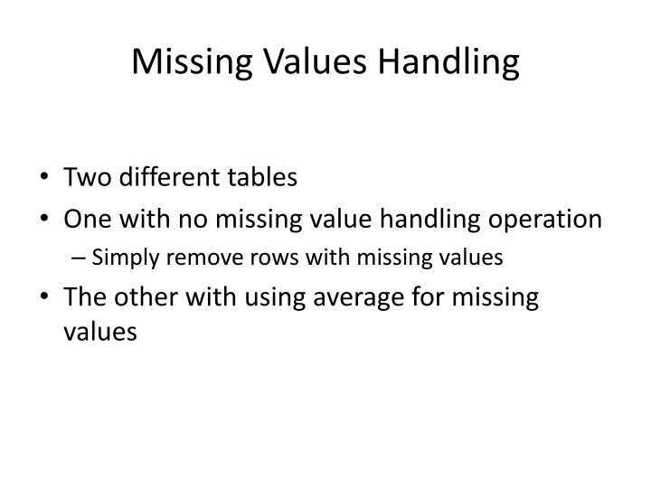 Missing Values Handling