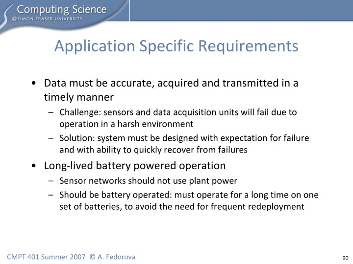 Application Specific Requirements