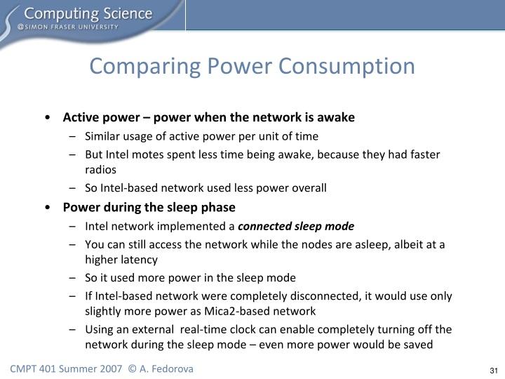 Comparing Power Consumption