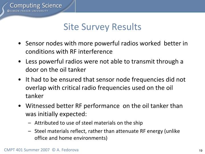Site Survey Results