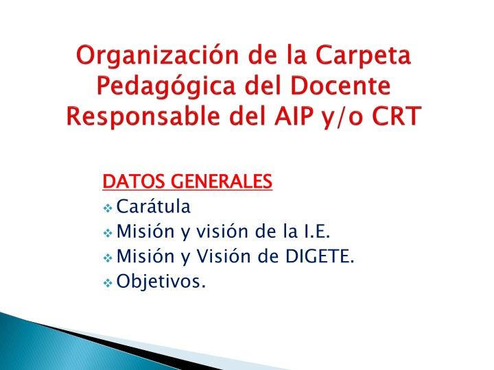 Organización de la Carpeta Pedagógica del Docente Responsable del AIP y/o CRT
