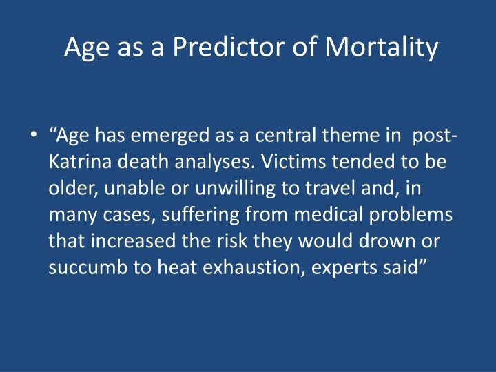 Age as a Predictor of Mortality