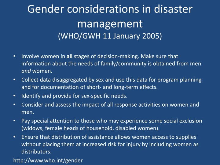 Gender considerations in disaster management