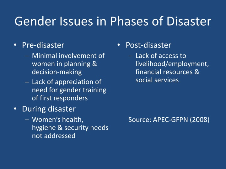 Gender Issues in Phases of Disaster