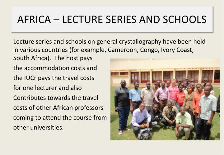 AFRICA – LECTURE SERIES AND SCHOOLS