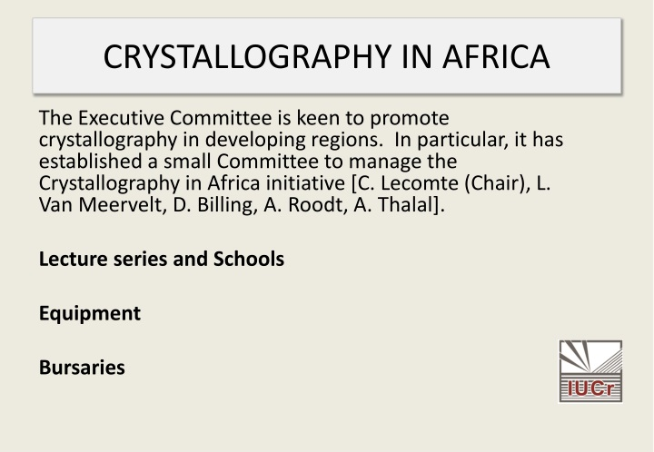 CRYSTALLOGRAPHY IN AFRICA