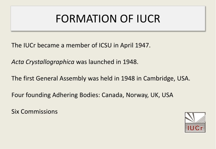 Formation of iucr
