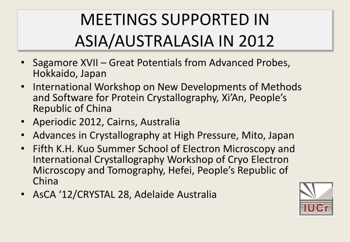 MEETINGS SUPPORTED IN ASIA/AUSTRALASIA IN 2012