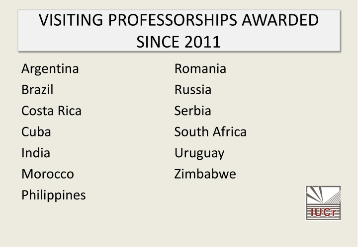 VISITING PROFESSORSHIPS AWARDED SINCE 2011
