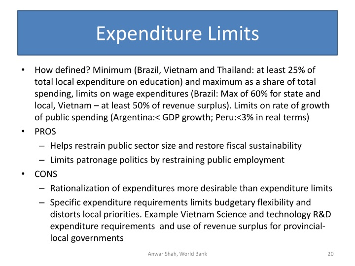 Expenditure Limits