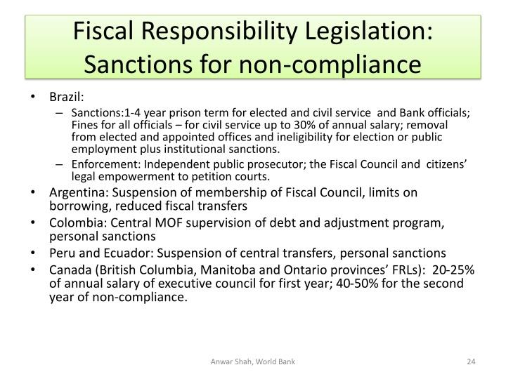 Fiscal Responsibility Legislation: Sanctions for non-compliance