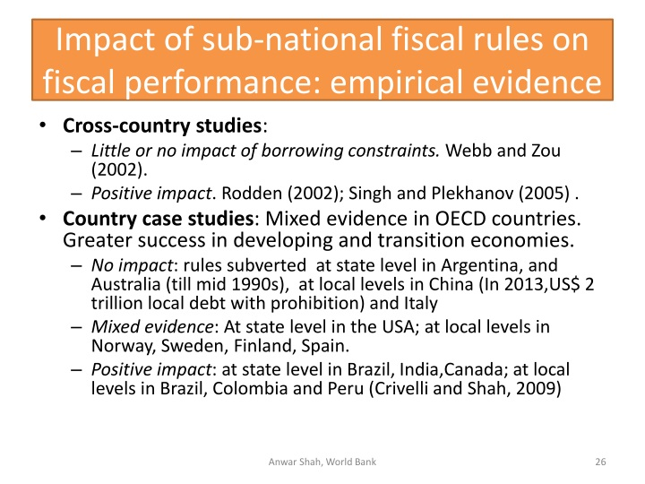 Impact of sub-national fiscal rules on fiscal performance: empirical evidence