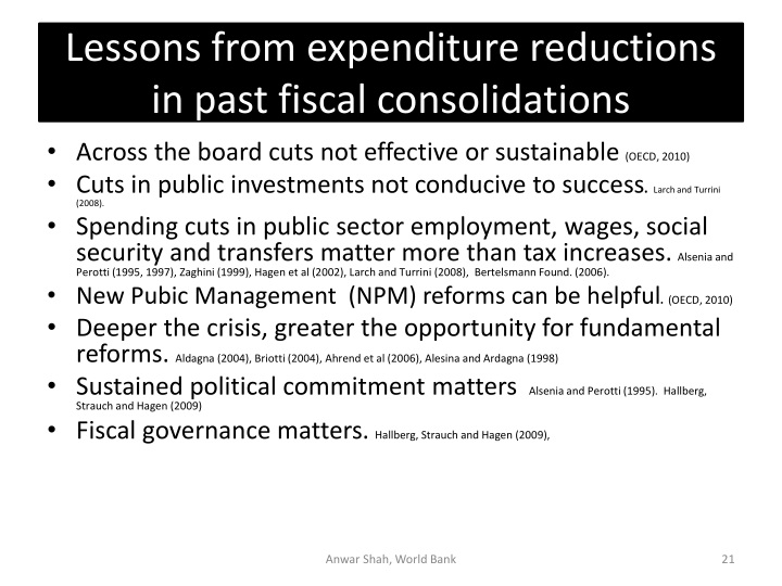 Lessons from expenditure reductions  in past fiscal consolidations