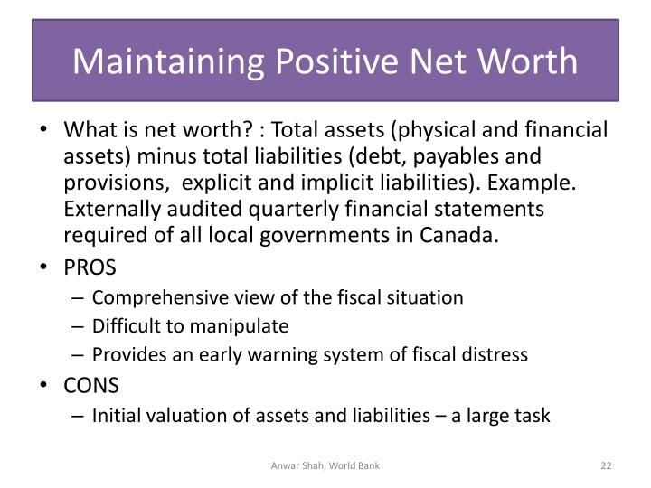 Maintaining Positive Net Worth
