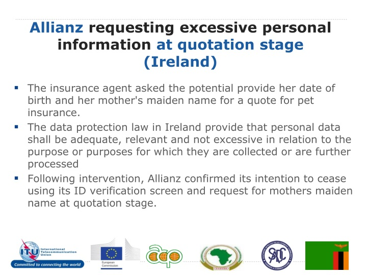 Allianz requesting excessive personal information at quotation stage ireland