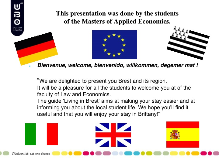 This presentation was done by the students of the masters of applied economics