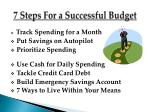 7 steps for a successful budget