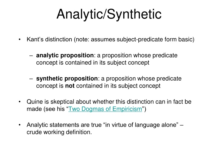 Analytic/Synthetic