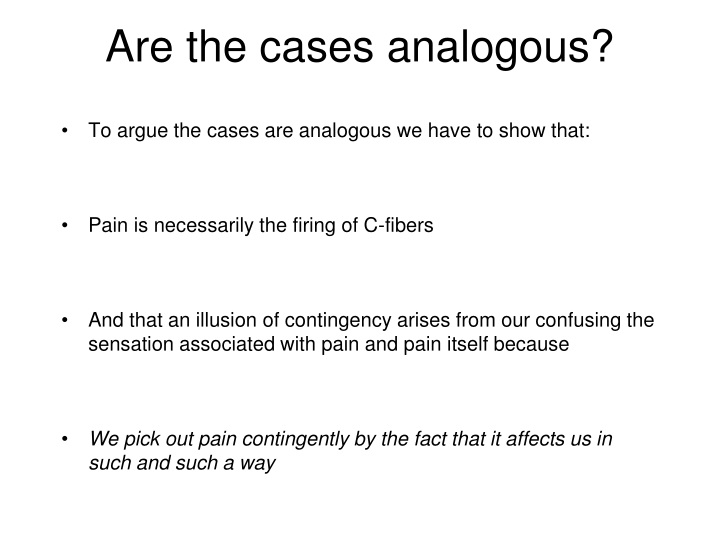Are the cases analogous?