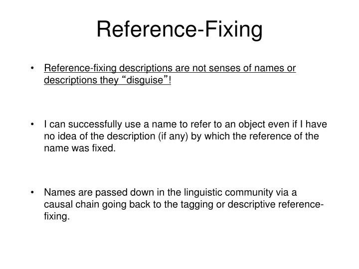 Reference-Fixing