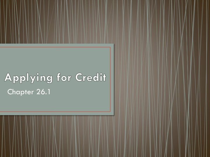 Applying for credit