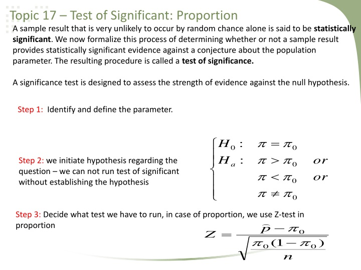 Topic 17 – Test of Significant: Proportion