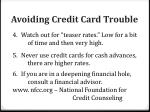 avoiding credit card trouble1