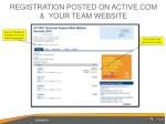 registration posted on active com your team website