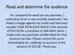 read and determine the audience2