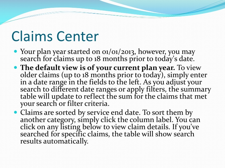 Claims Center