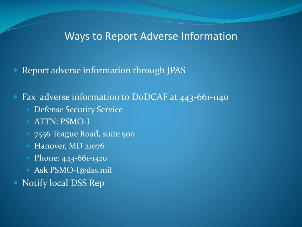 ppt - adverse information powerpoint presentation