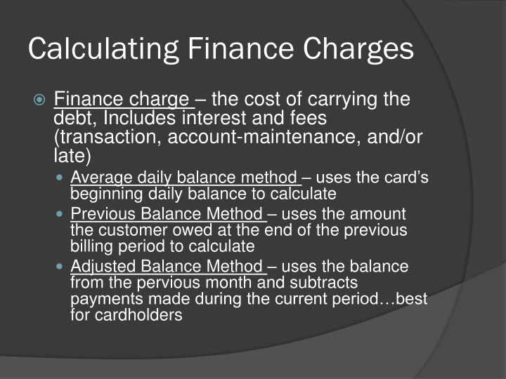 Calculating Finance Charges