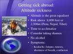 getting sick abroad altitude sickness