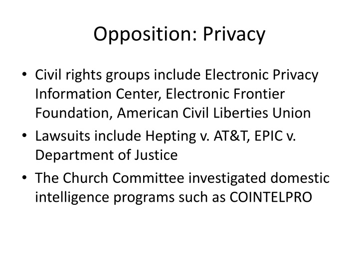 Opposition: Privacy
