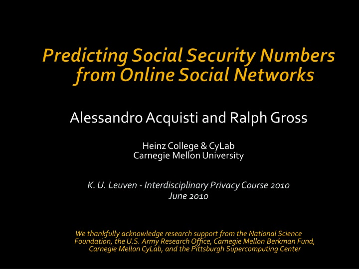 predicting social security numbers from online social networks n.