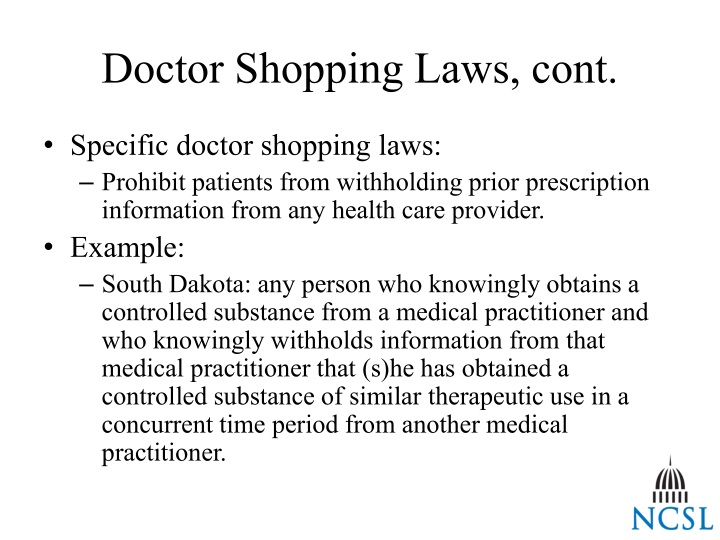 Doctor Shopping Laws, cont.