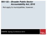 bill 122 broader public sector accountability act 2010