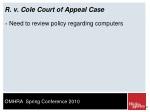 r v cole court of appeal case