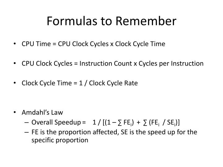 Formulas to remember