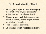 to avoid identity theft