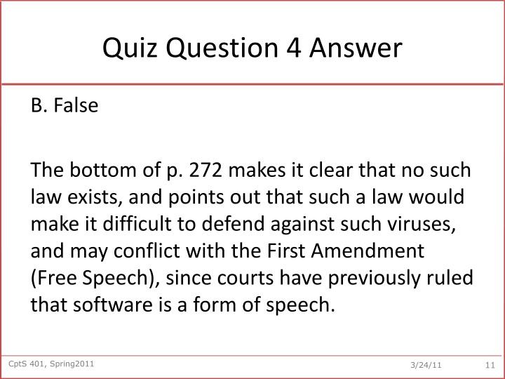 Quiz Question 4 Answer