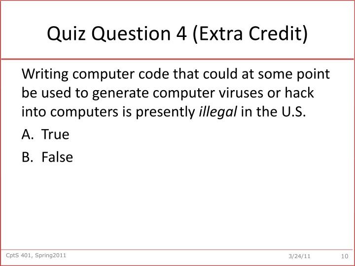 Quiz Question 4 (Extra Credit)