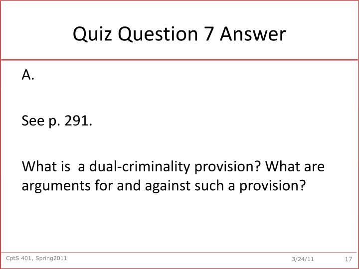 Quiz Question 7 Answer